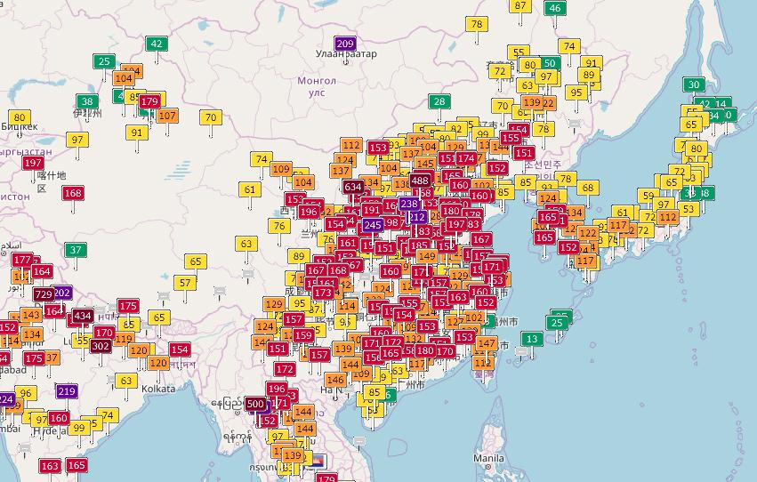 中国の大気汚染マップ